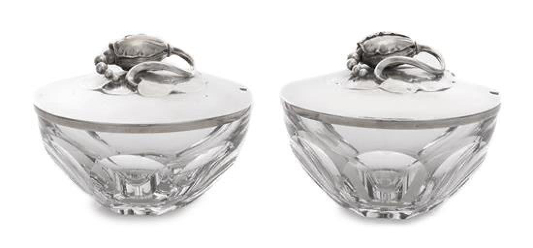 A Pair of Danish Silver Mounted Baccarat Glass