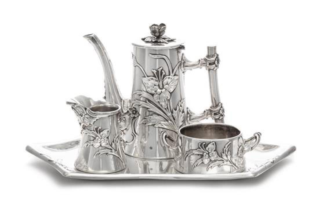 A German Silver Three-Piece Tea Service