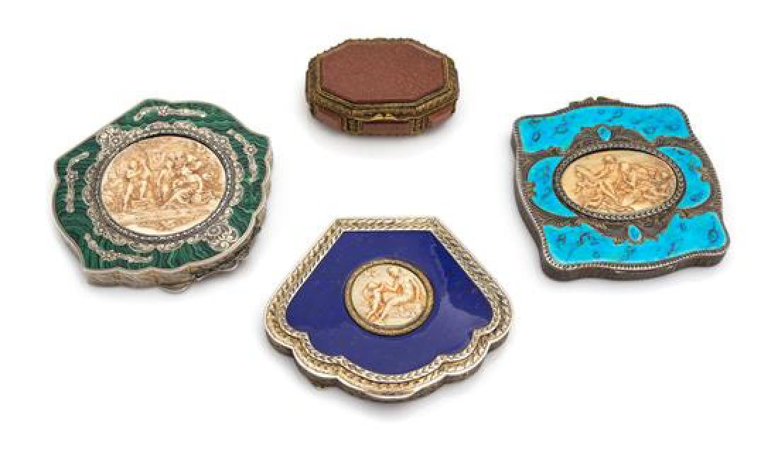 A Group of Three Continental Silver Compacts