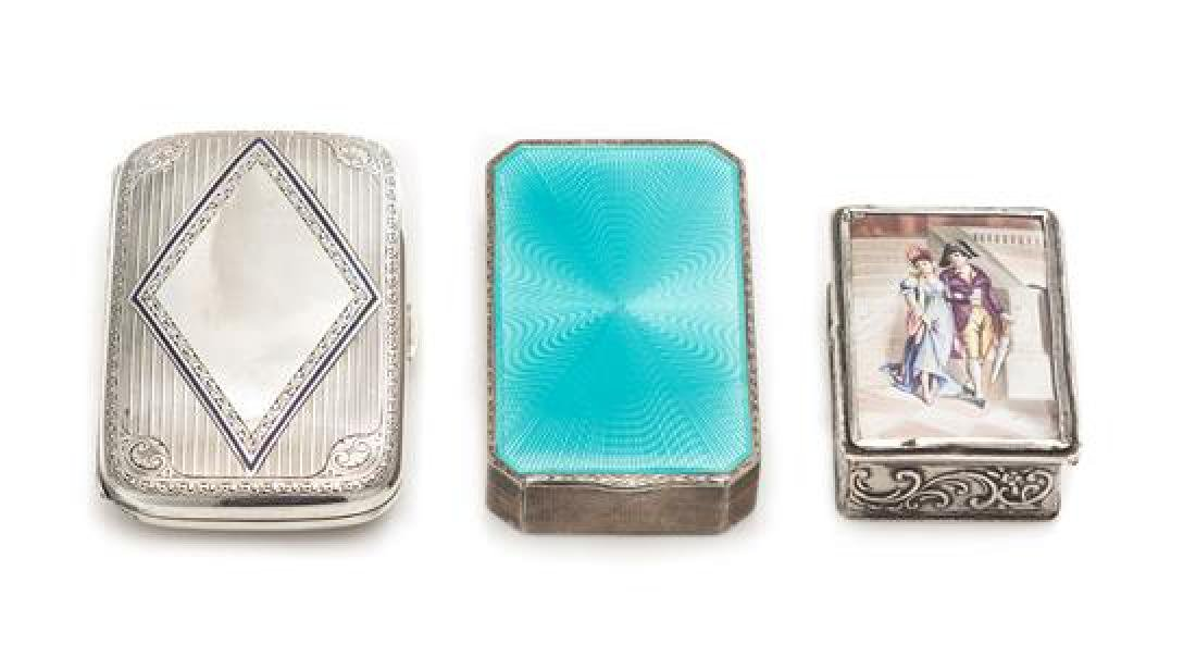 A Group of Three German Silver and Enamel Boxes