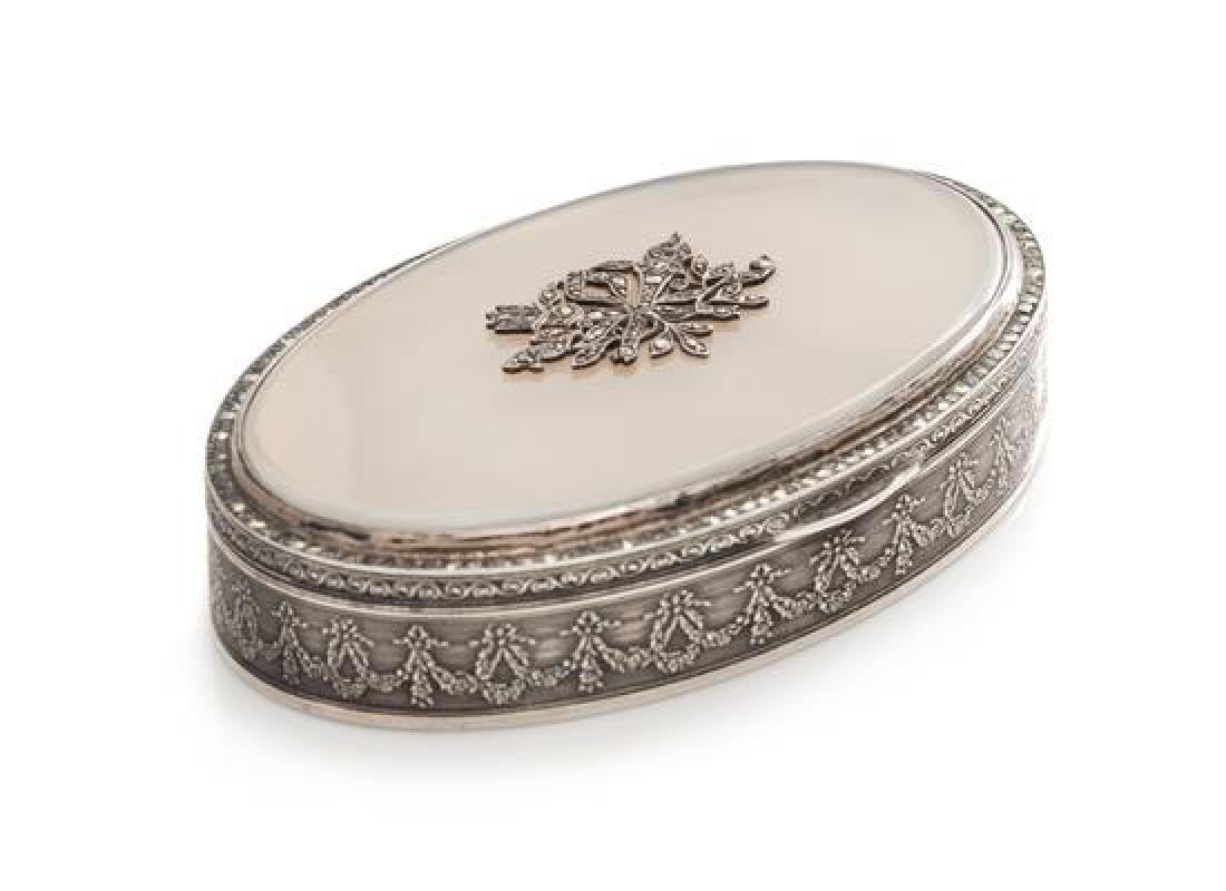 A German Silver and Hardstone Inset Snuff Box