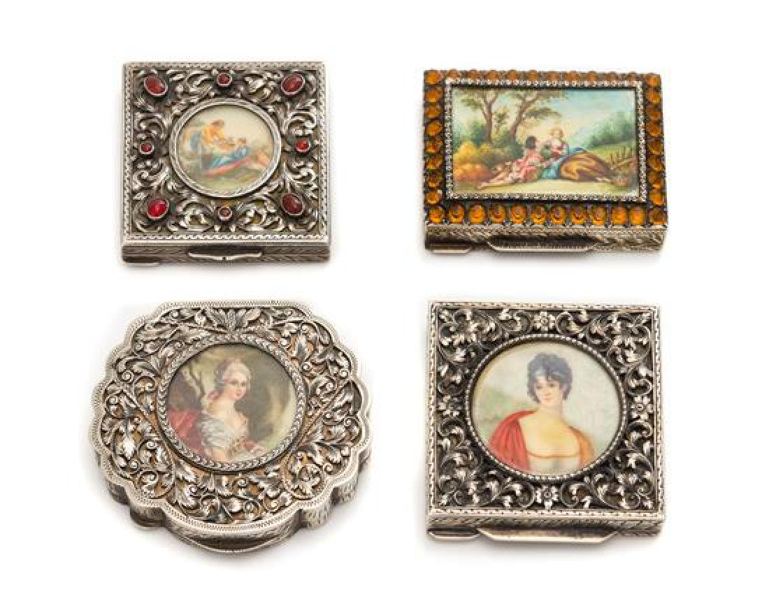 A Group of Four Continental Silver Compacts