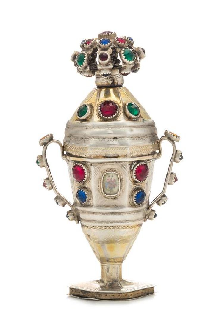 A Continental Silver and Jeweled Scent Flask