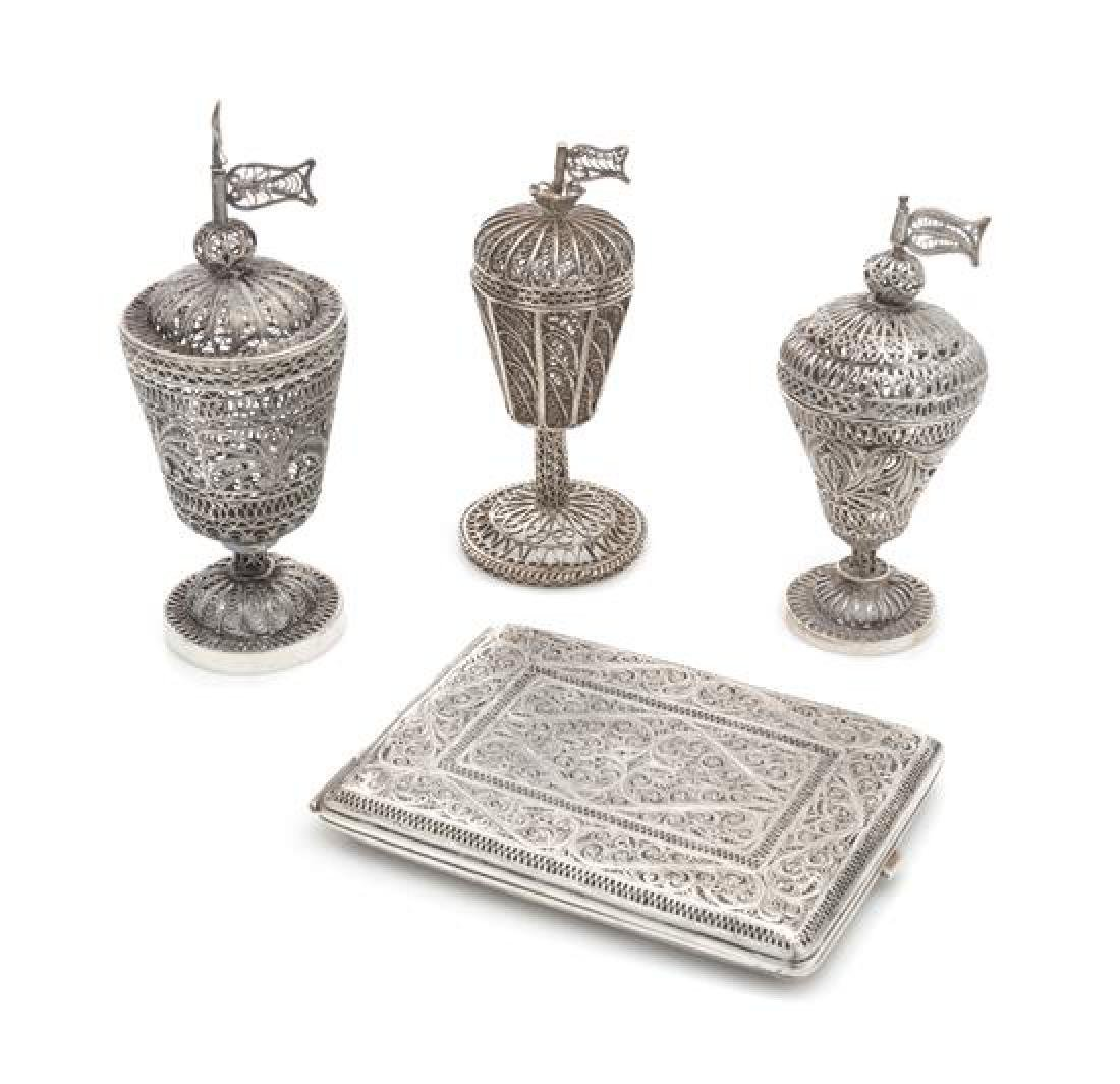 A Group of Four Middle Eastern Silver Filigree Objects