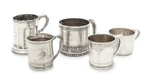 A Collection of Five American Silver Children's Mugs