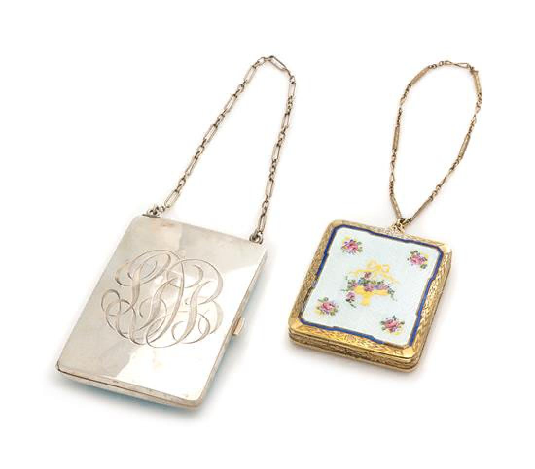 Two American Enameled Silver Change Purses
