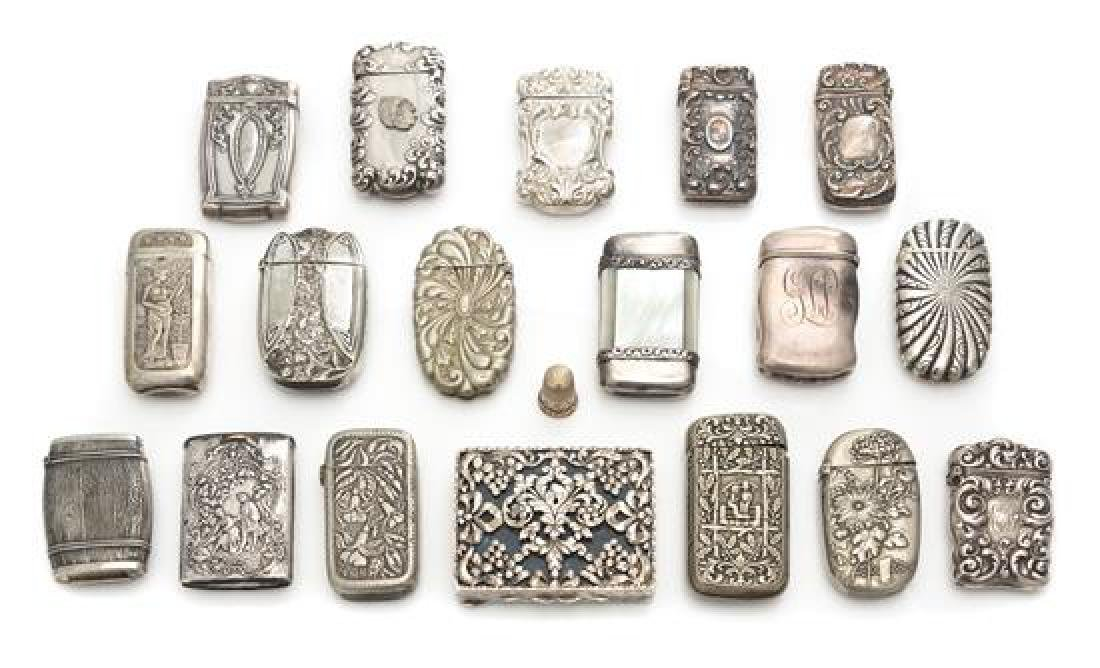 A Collection of Silver and Silvered Metal Vesta Cases