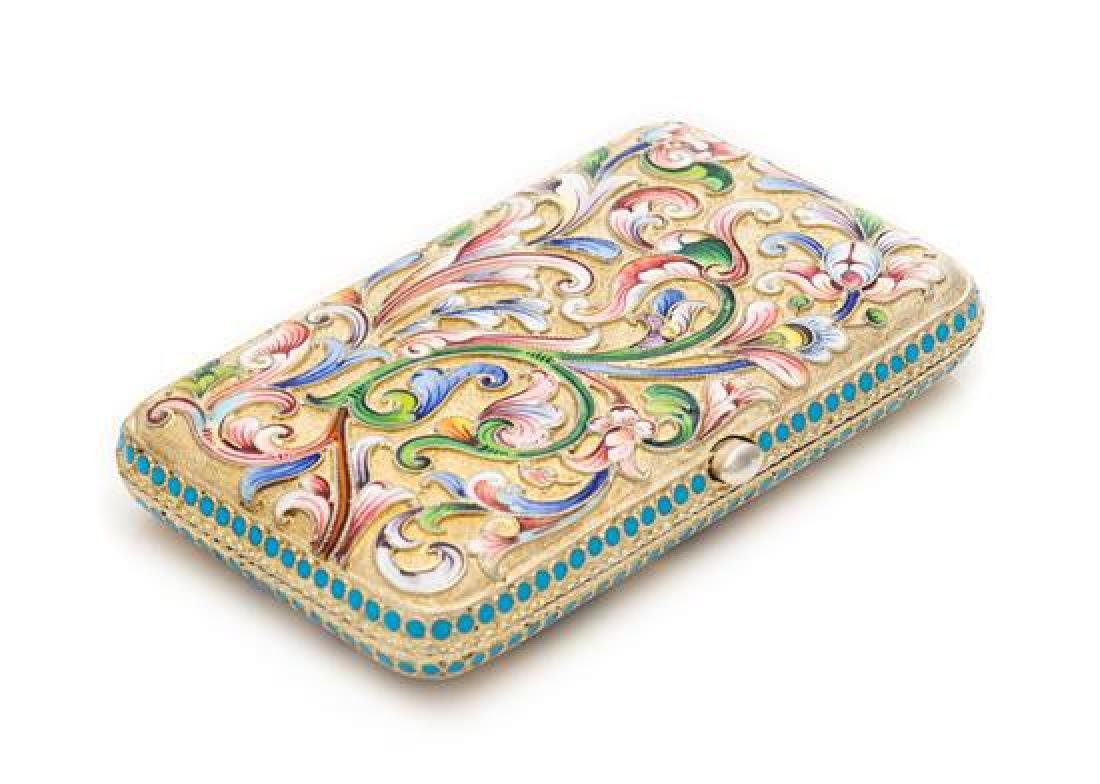 A Russian Silver-Gilt and Enameled Cigarette Case