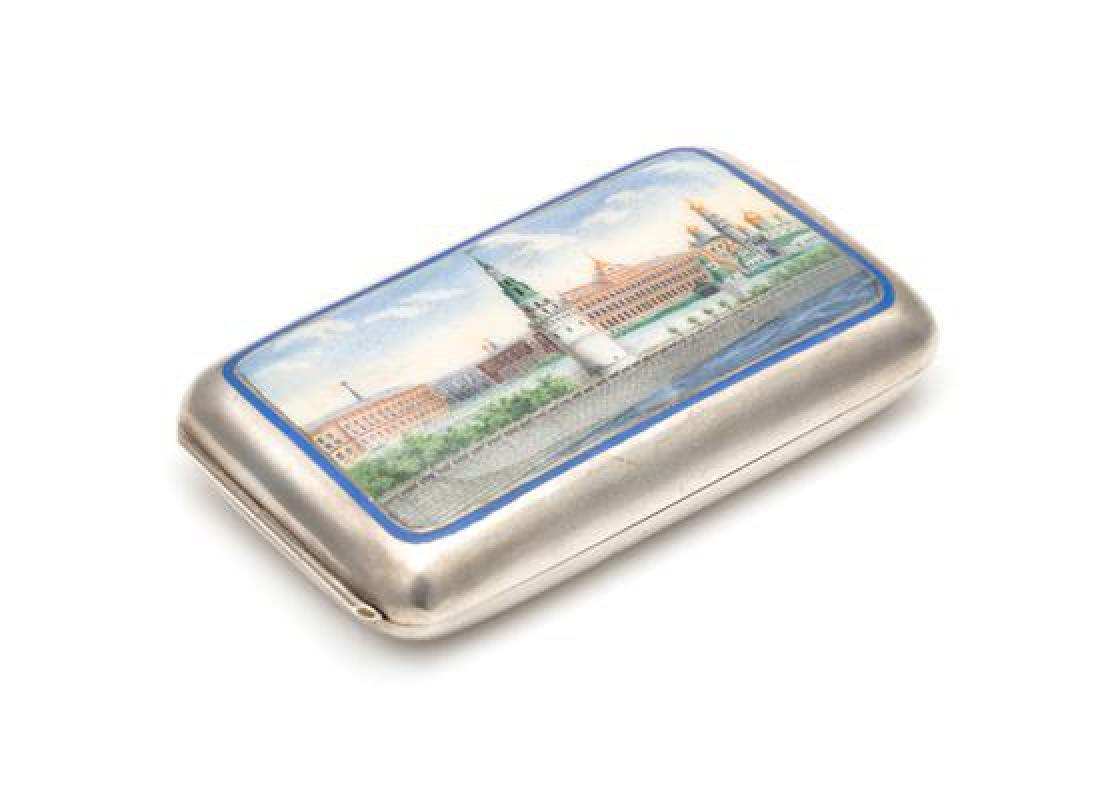 A Russian Enameled Silver Cigarette Case