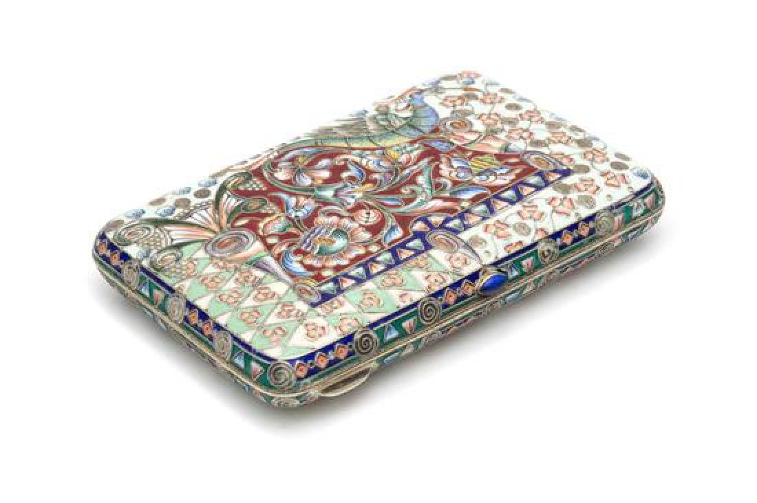 A Russian Enameled Silver Cigarette Case