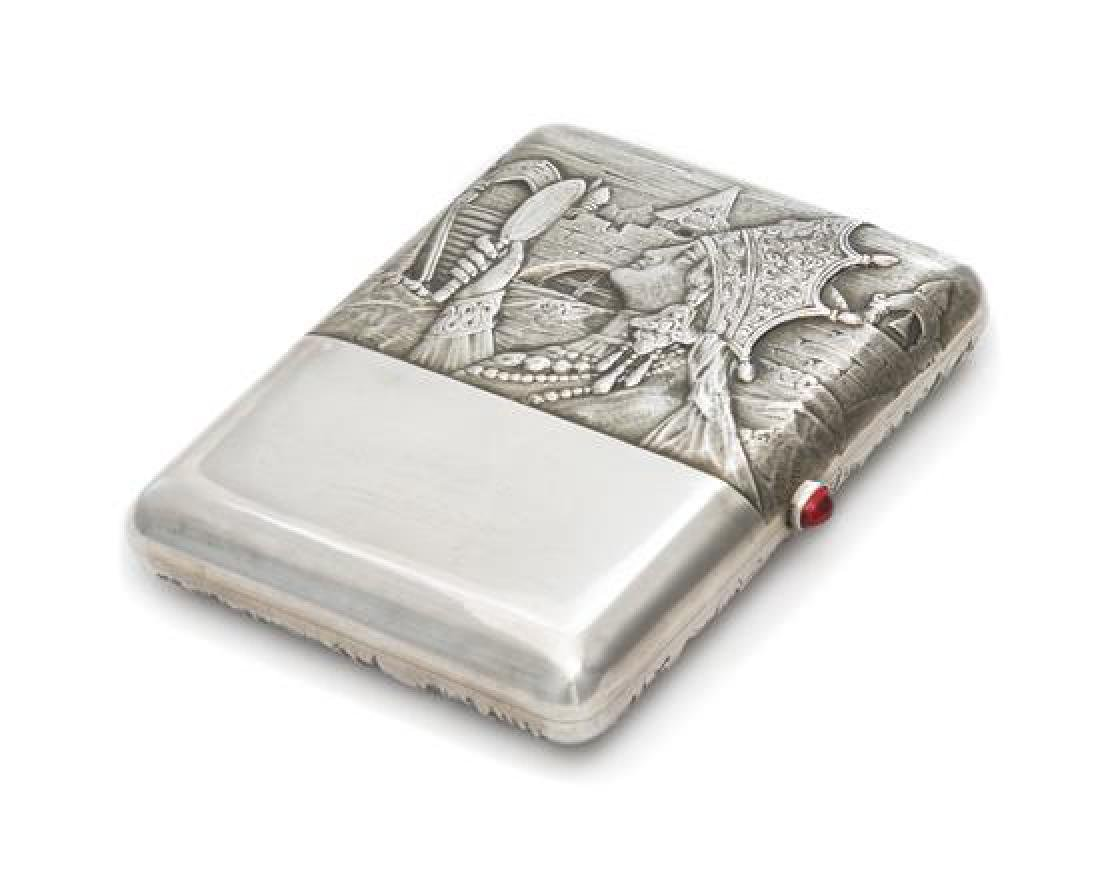 A Russian Silver Cigarette Case