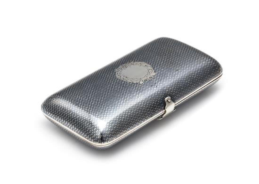 A Russian Niello Silver Cigarette Case