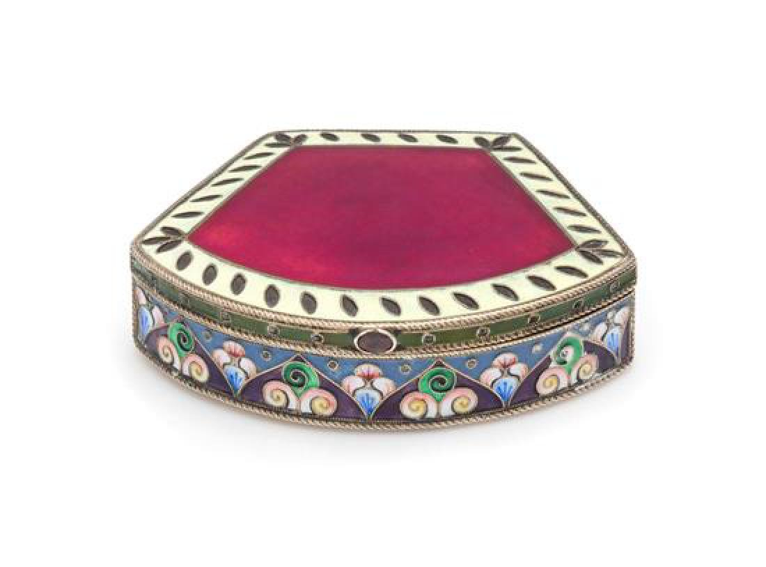A Russian Enameled Silver Snuff Box