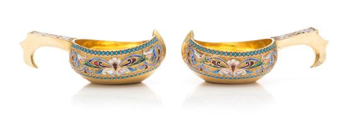 A Pair of Russian Silver-Gilt and Enameled Kovshi