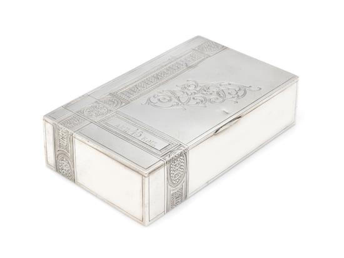 A Russian Silver Table Top Cigarette Box