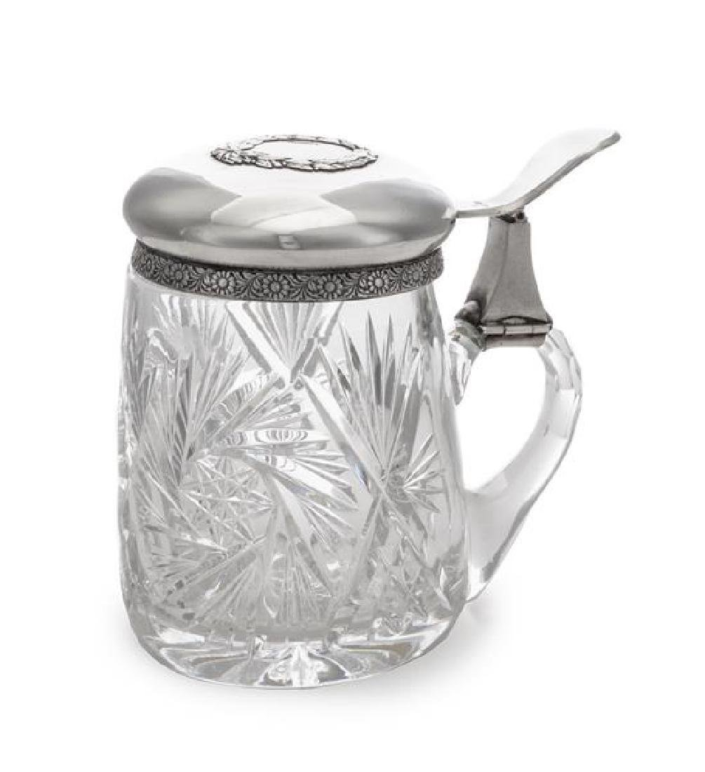 A Latvian Silver-Mounted Cut Glass Tankard