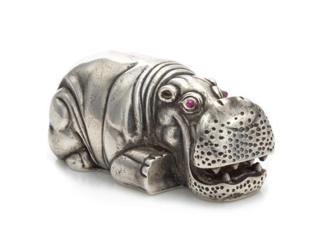 A Russian Silver Hippopotamus