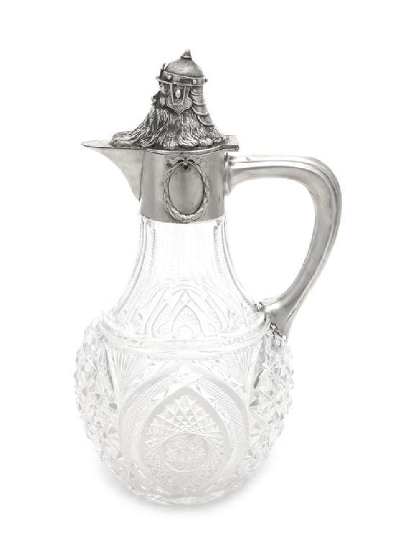 A Russian Silver Mounted Cut Glass Water Pitcher