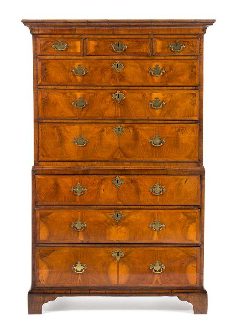 A George II Walnut Chest on Chest