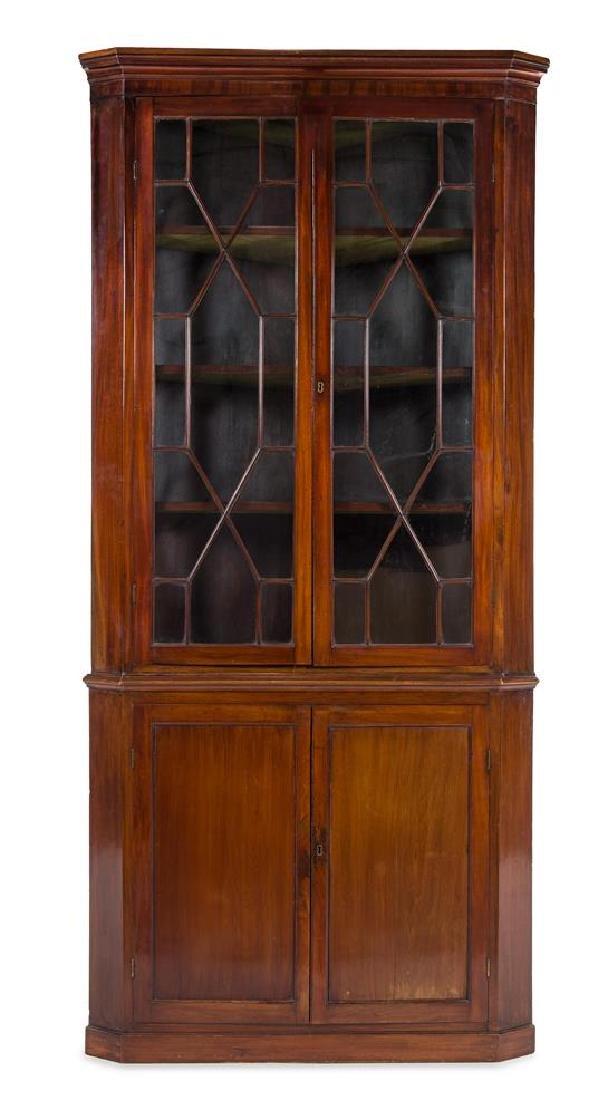 A George III Mahogany Corner Cupboard