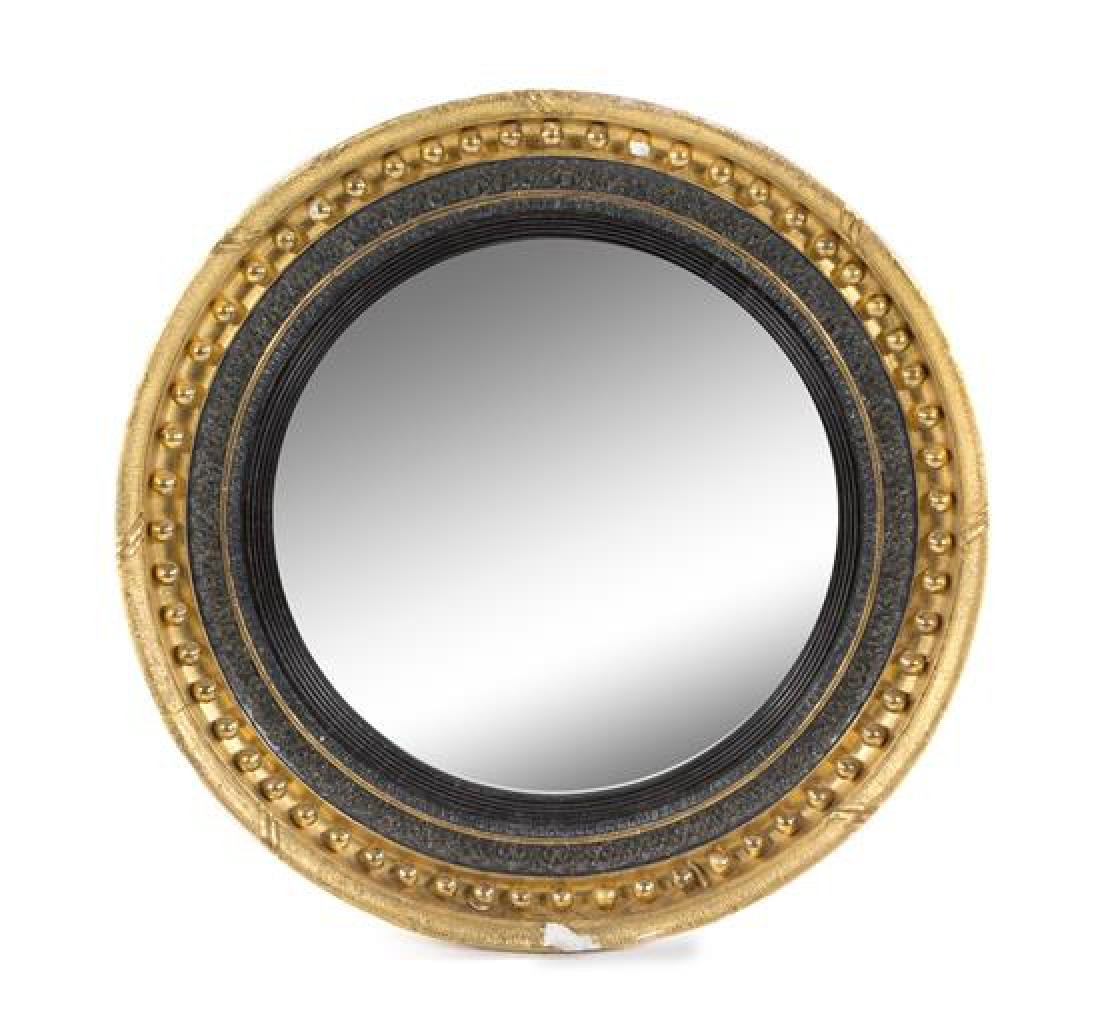 A Regency Style Giltwood Convex Mirror