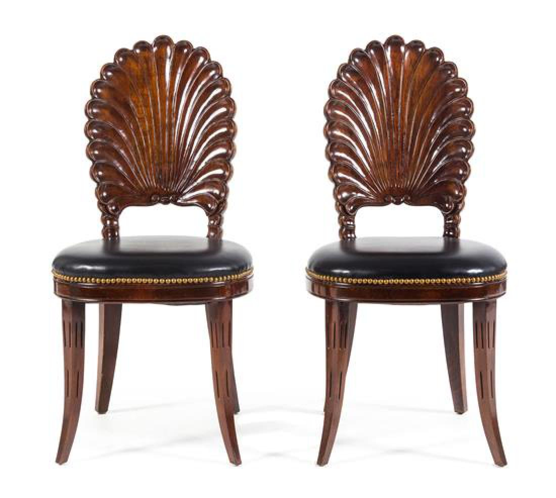A Pair of Regency Style Hall Chairs