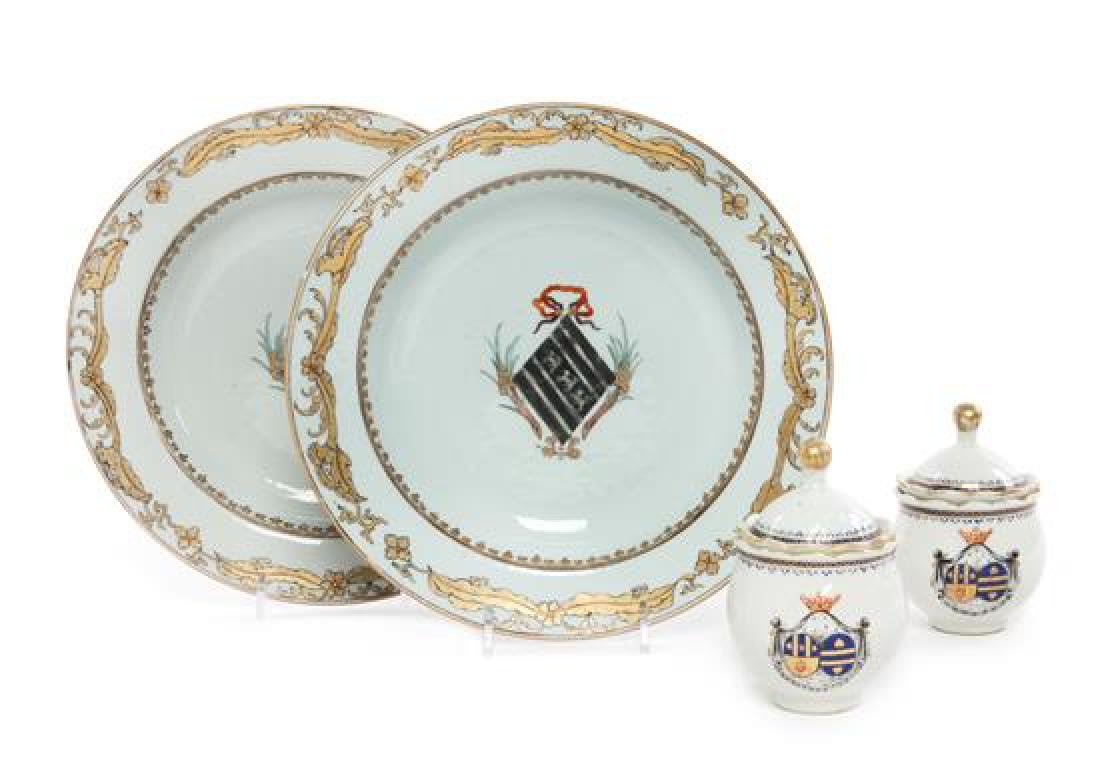 A Pair of Chinese Export Armorial Soup Plates