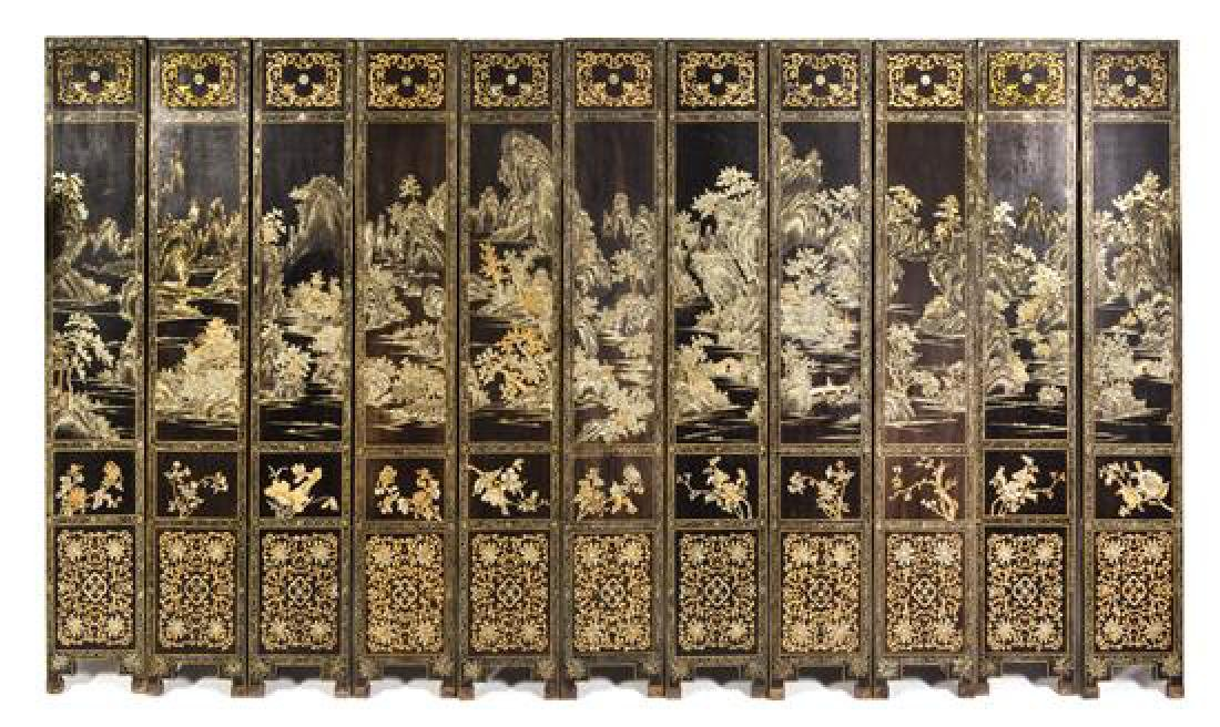 A Chinese Lacquered Twelve-Panel Floor Screen