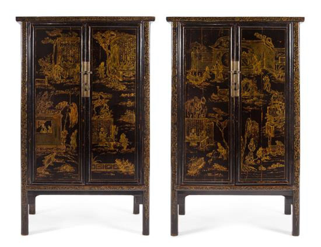 A Pair of Chinese Export Lacquered Cabinets