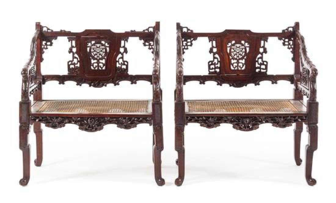 A Pair of Chinese Carved Armchairs