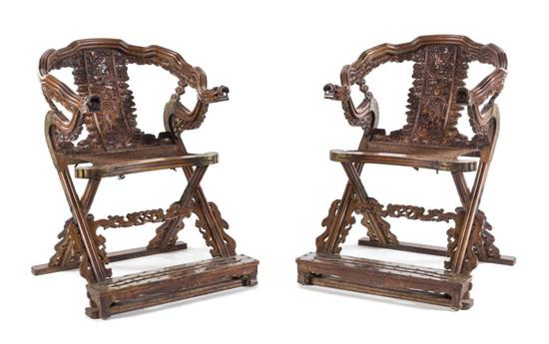 A Pair of Chinese Carved and Brass Mounted Folding