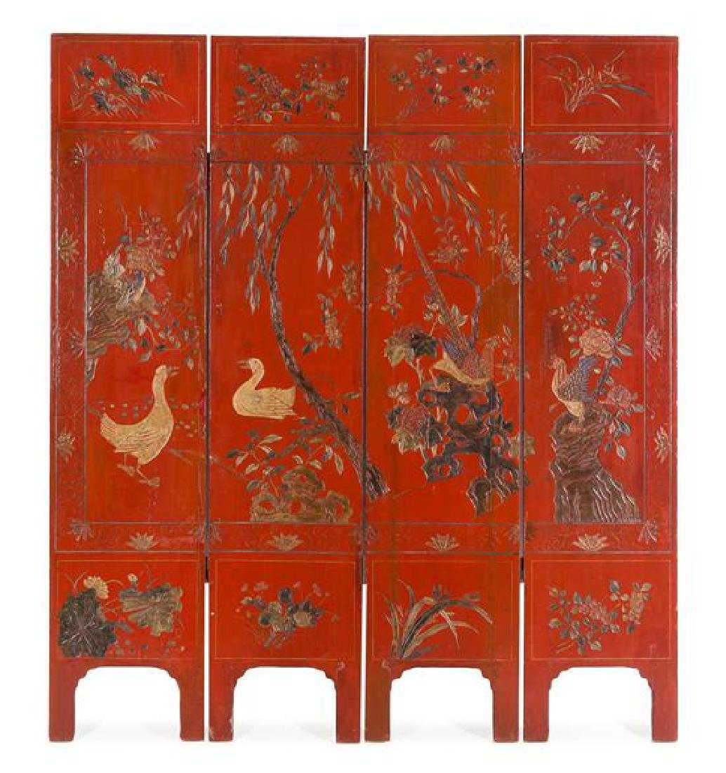 A Chinese Lacquered Four-Panel Floor Screen