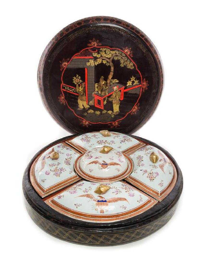A Chinese Export Porcelain and Lacquered Serving Set
