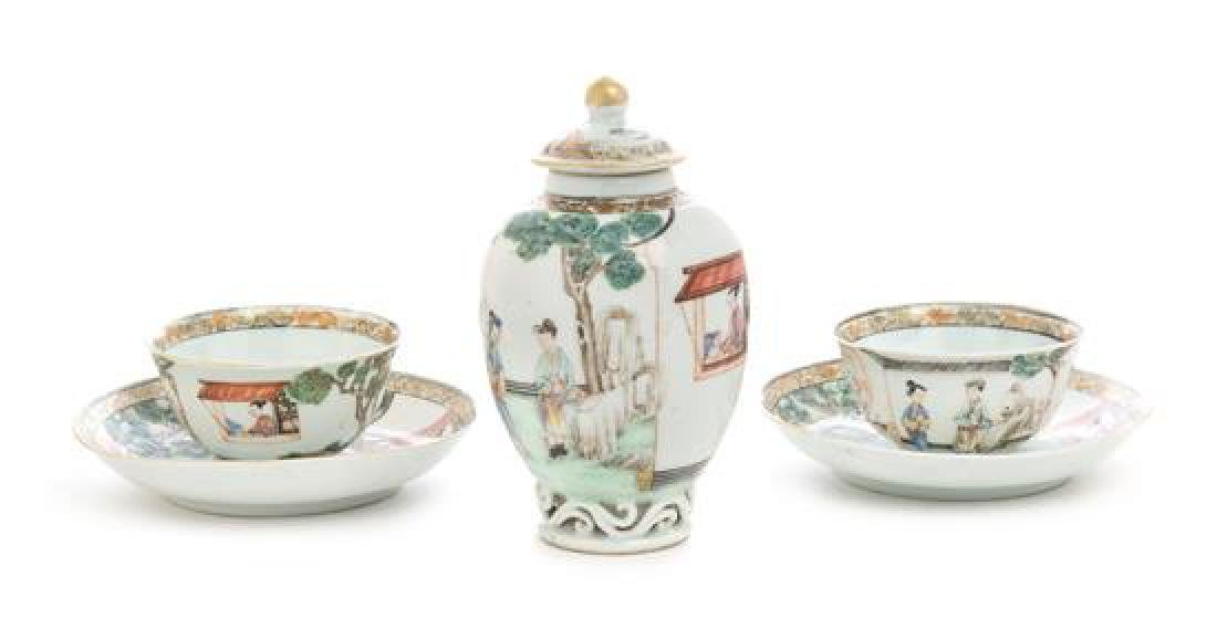 Two Sets of Chinese Export Famille Rose Porcelain Cups