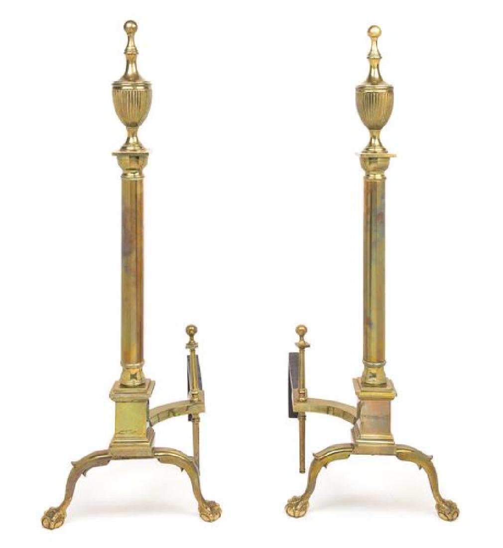 A Pair of Federal Style Brass Andirons