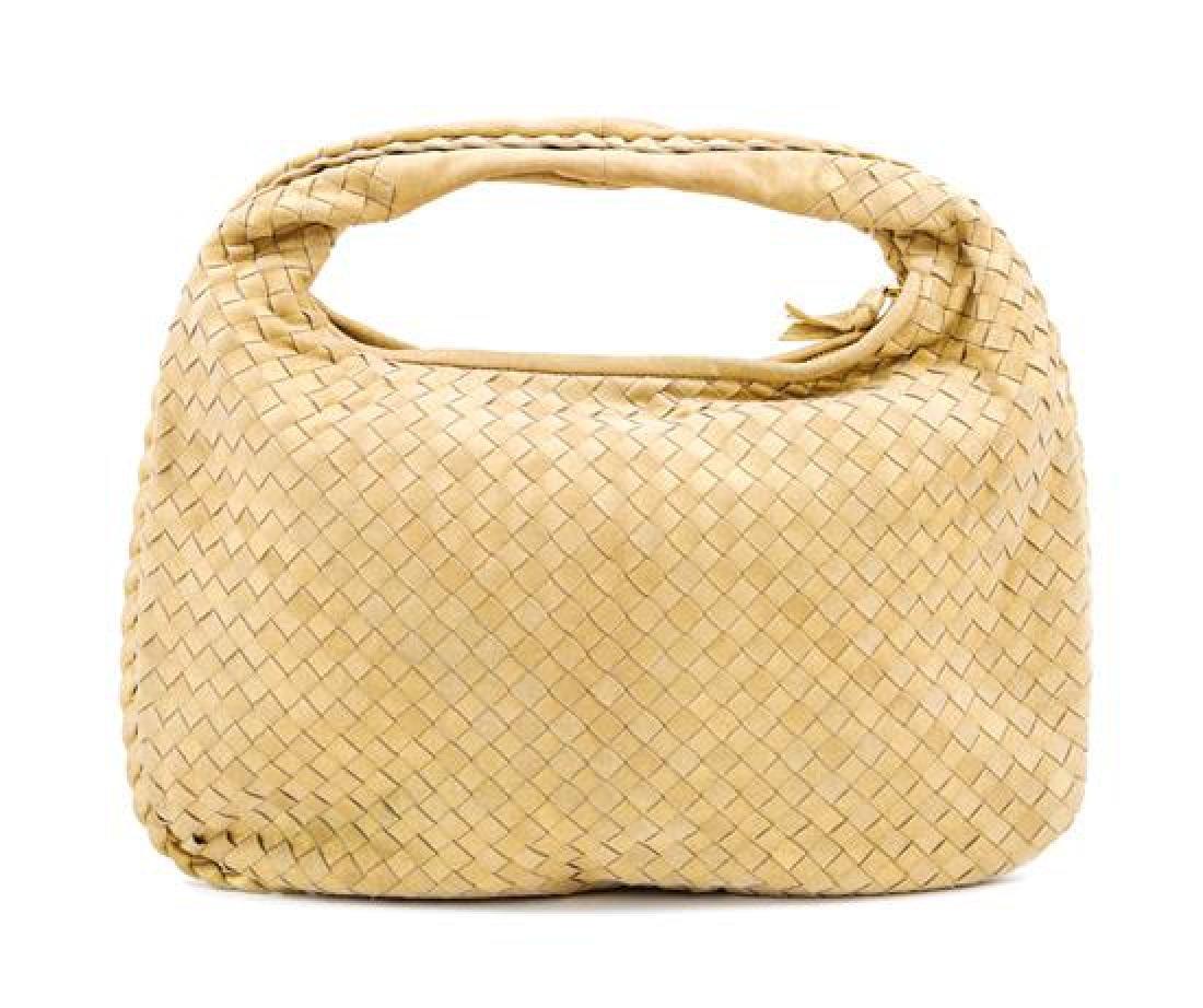 A Bottega Gold Shimmer Intrecciato Medium Hobo Bag,