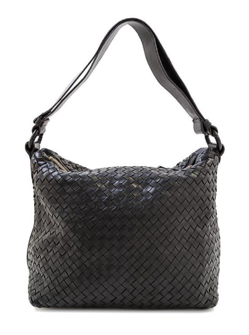 A Bottega Veneta Black Intrecciato Shoulder Bag,