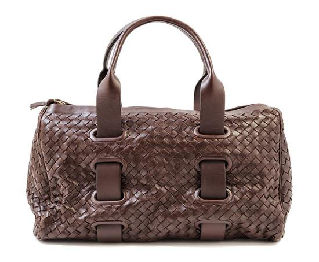 A Bottega Veneta Chocolate Intrecciato Small Duffle
