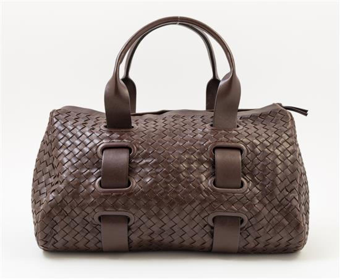 A Bottega Veneta Chocolate Intrecciato Small Duffle - 3