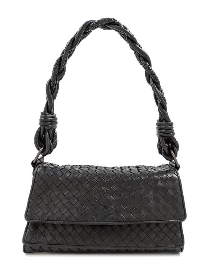 A Bottega Veneta Black Intrecciato Double Flap Handbag,