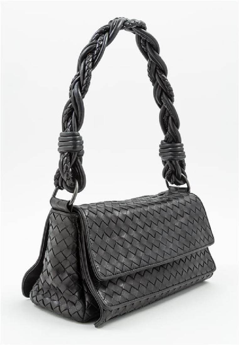 A Bottega Veneta Black Intrecciato Double Flap Handbag, - 2