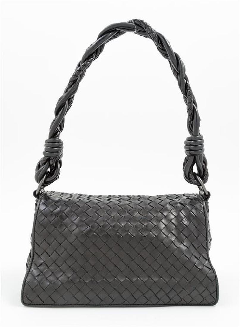 A Bottega Veneta Black Intrecciato Double Flap Handbag, - 3