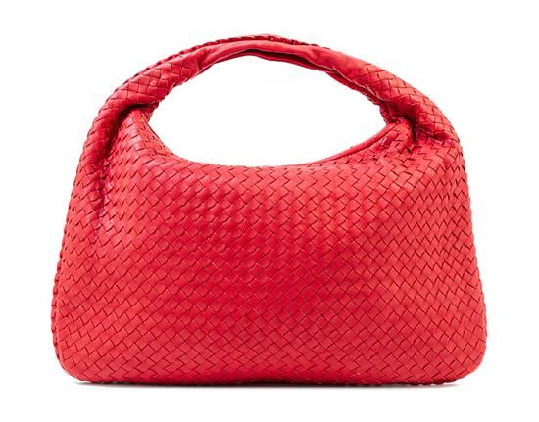 A Bottega Veneta Red Intrecciato Large Hobo Bag,