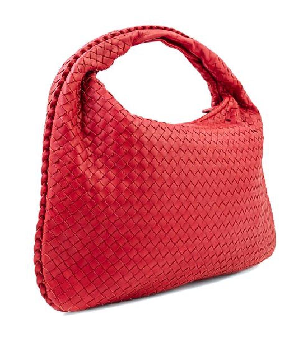 A Bottega Veneta Red Intrecciato Large Hobo Bag, - 2
