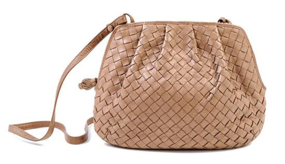 A Bottega Veneta Intrecciato Taupe Shoulder Bag,