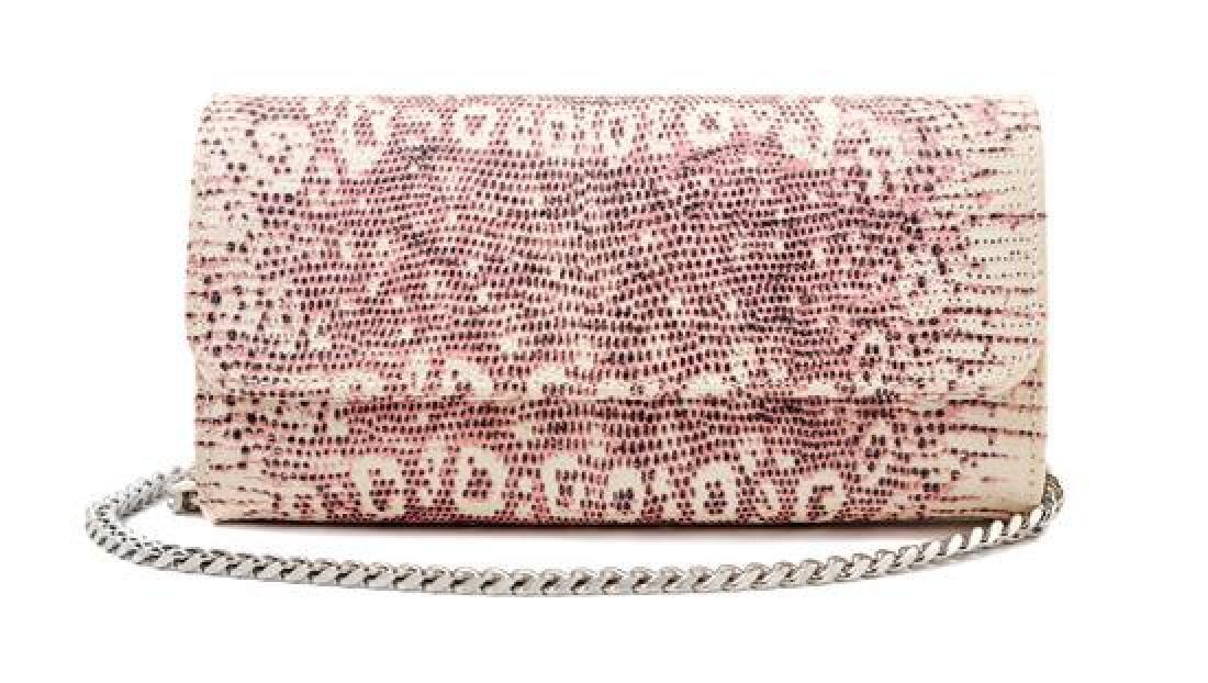A Carlos Falchi Pink and Cream Snakeskin Clutch,