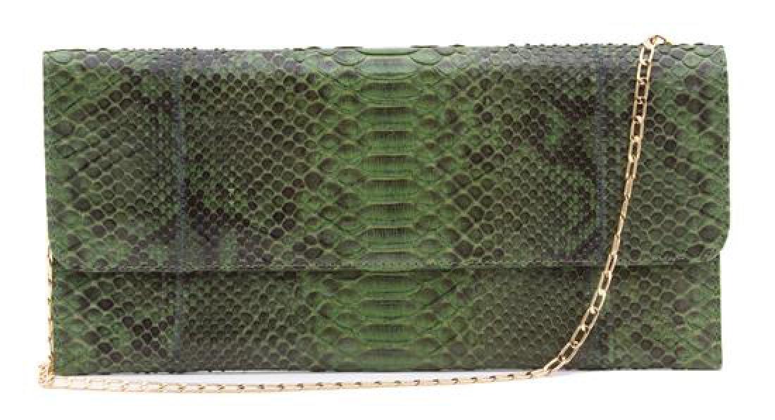A Carlos Falchi Green Exotic Skin Clutch,