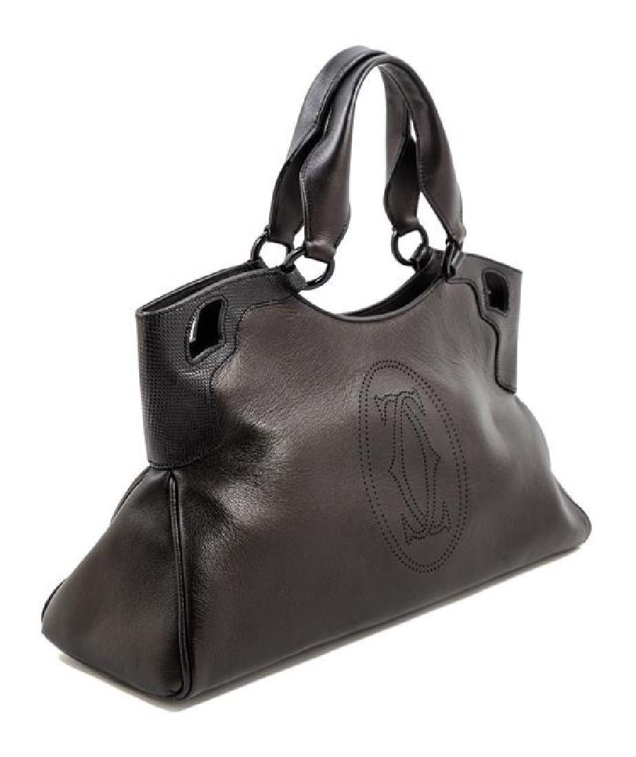 A Cartier Black Leather Marcello Satchel, - 2