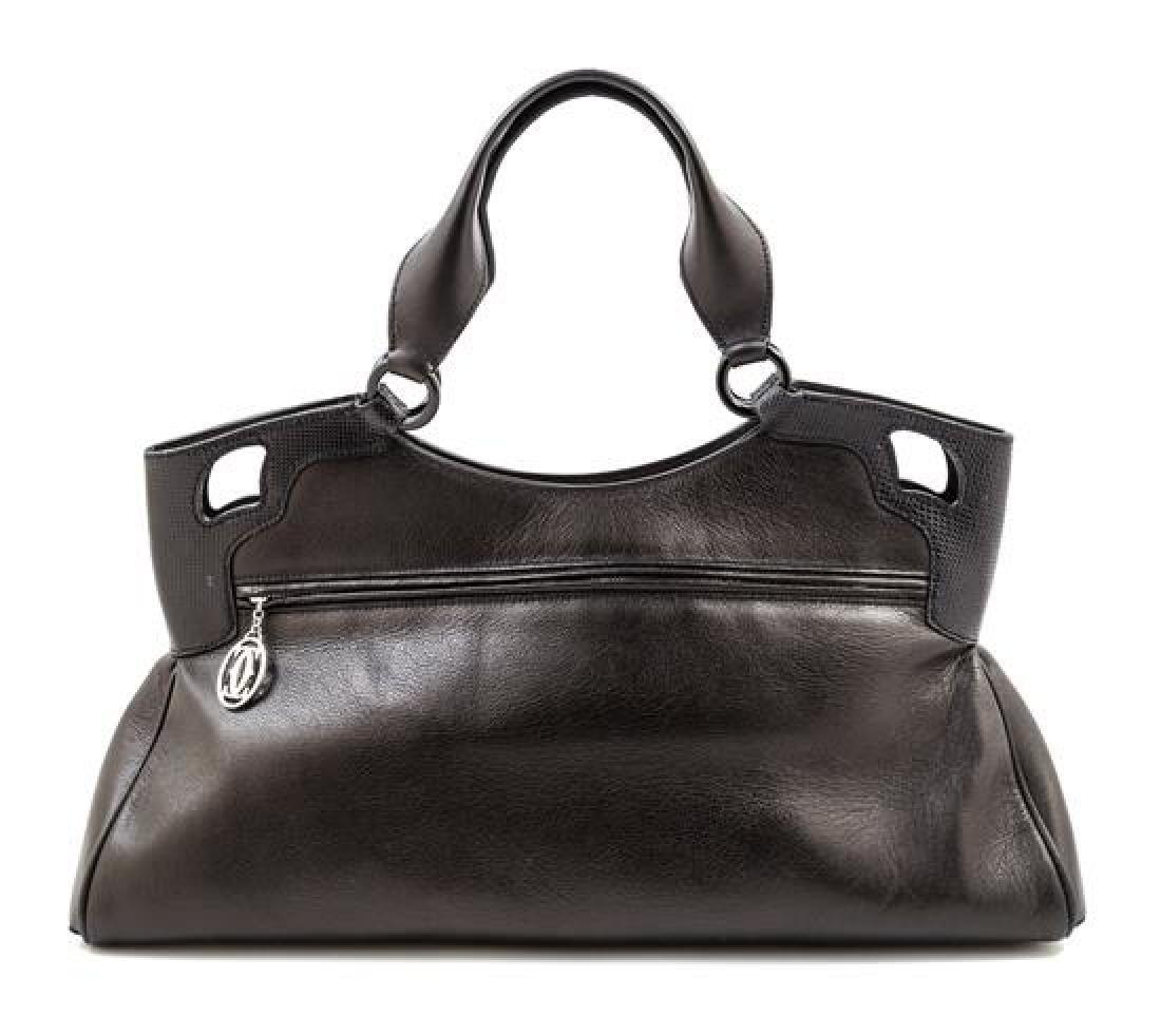 A Cartier Black Leather Marcello Satchel, - 3