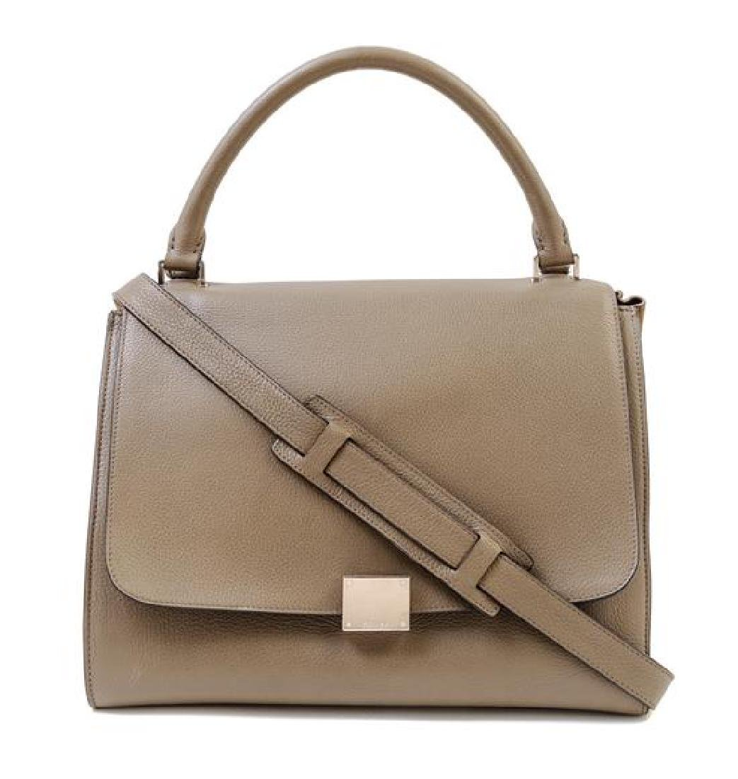 A Celine Taupe Leather and Suede Medium Trapeze